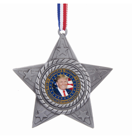 Kurt Adler United States President Donald Trump on Metal Star Ornament
