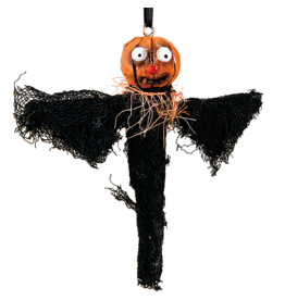 Gallerie II Joe Spencer Halloween Ornament Pumpkin Bat 7 inch