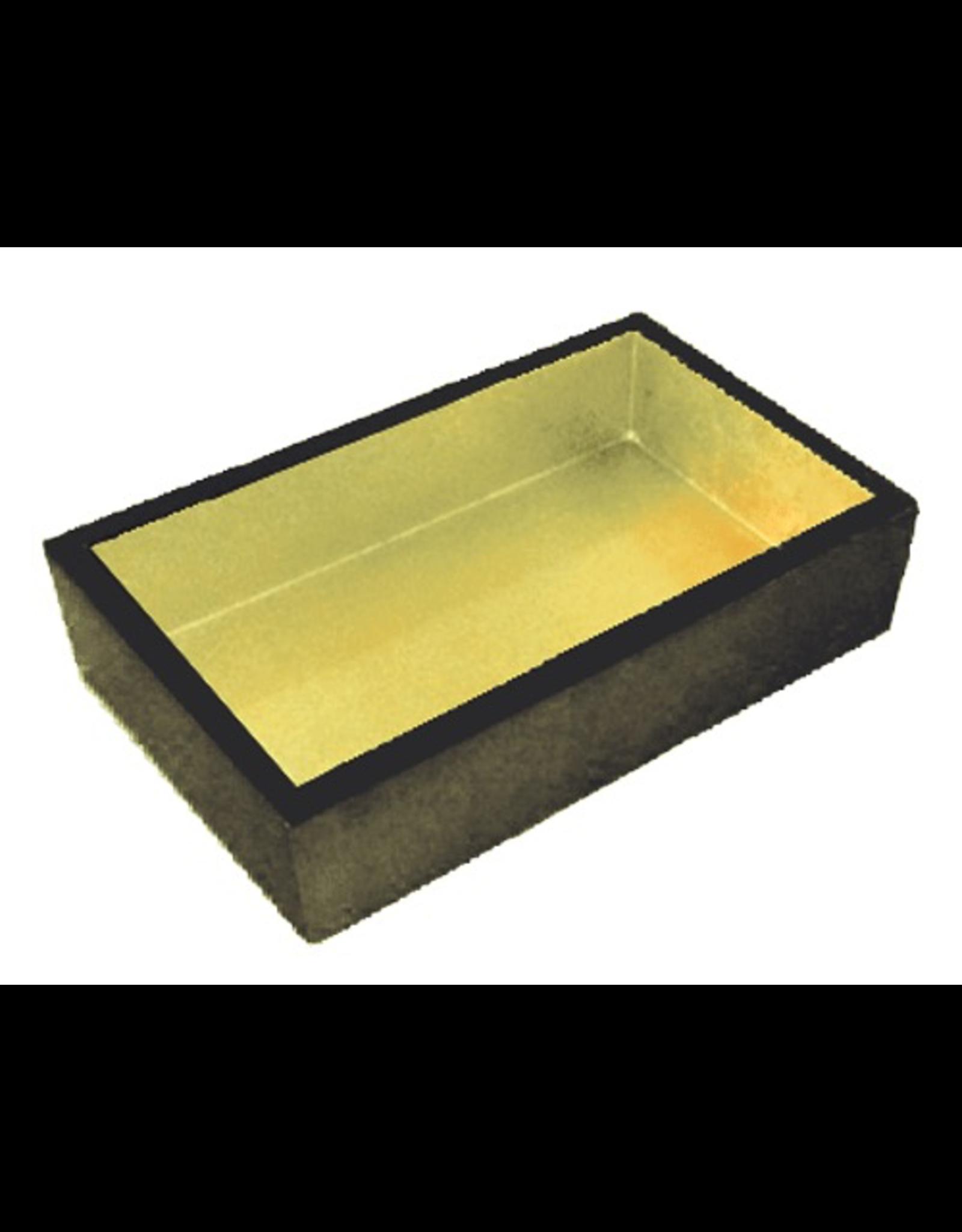 Caspari Black w Gold Lacquer Guest Towel Napkin Holder