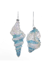 Kurt Adler Beaded Iridescent Glass Shell Ornament w Blue Clear Stripes Set of 2