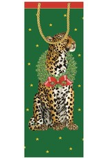 Caspari Christmas Wine Bottle Gift Bag Wild Christmas Leopard