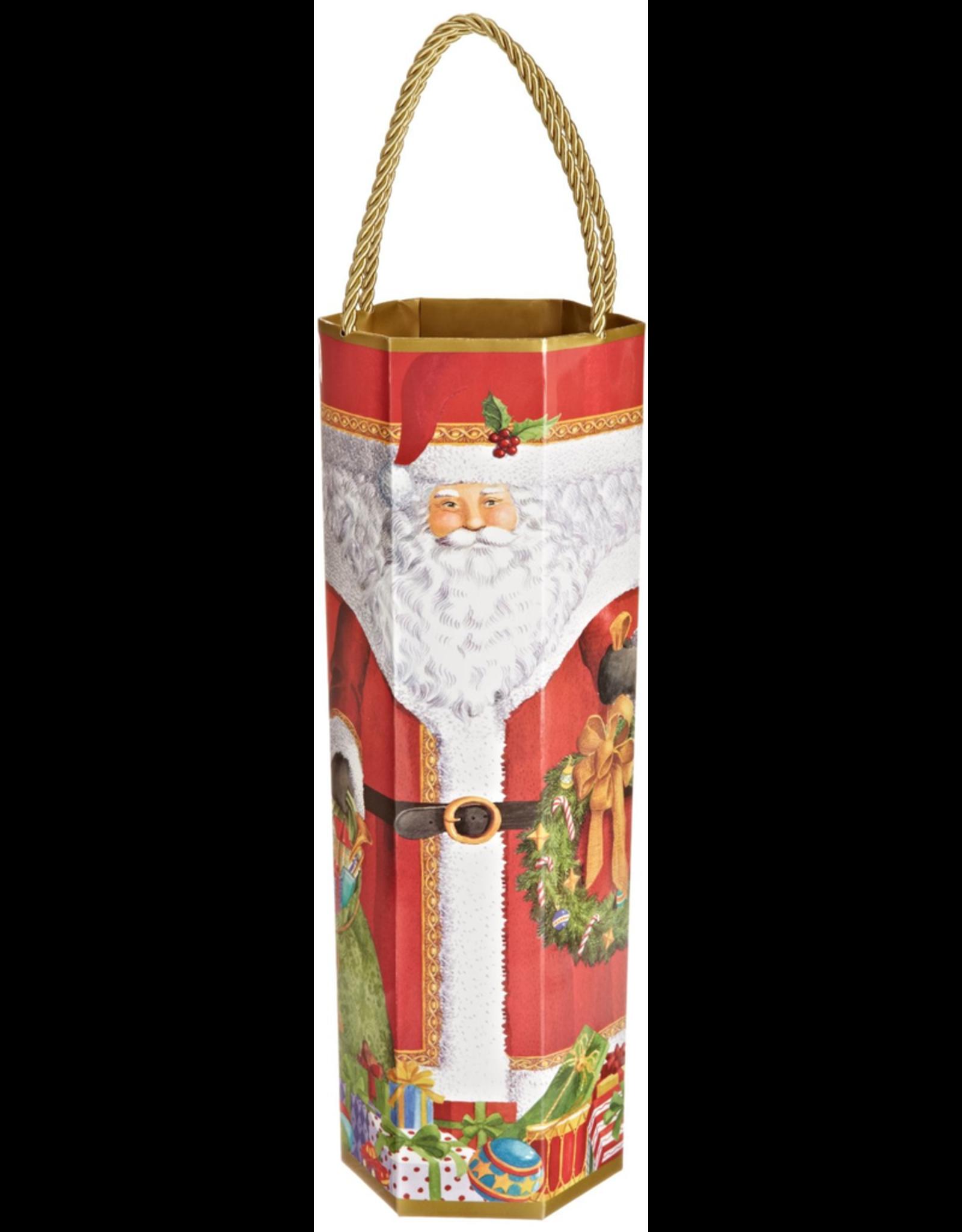 Caspari Christmas Wine Bottle Bag Hexagonal Santa Bottle Bag