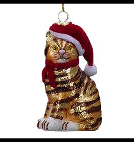 Kurt Adler Noble Gems Cat W Santa Hat Glass Ornament Striped Cat