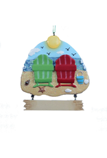 Kurt Adler Adirondack Beach Chairs Viewing Ocean Ornament 3.5 inch