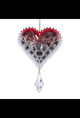 Kurt Adler Acrylic Glitter Heart Ornament W Jewel Drop 5.5 Inch