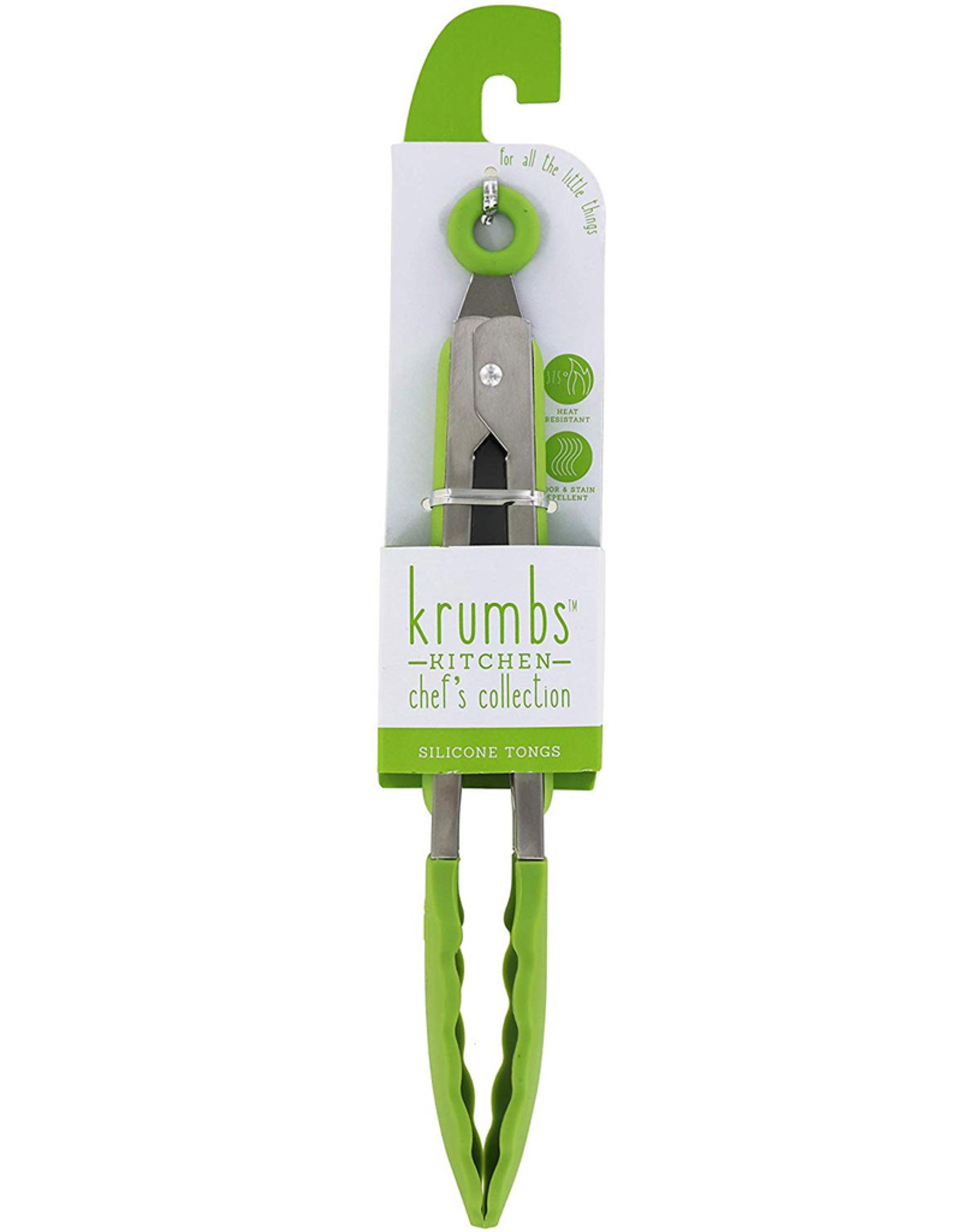 Green Silicone Tongs W Scalloped Grippers n Pull Lock