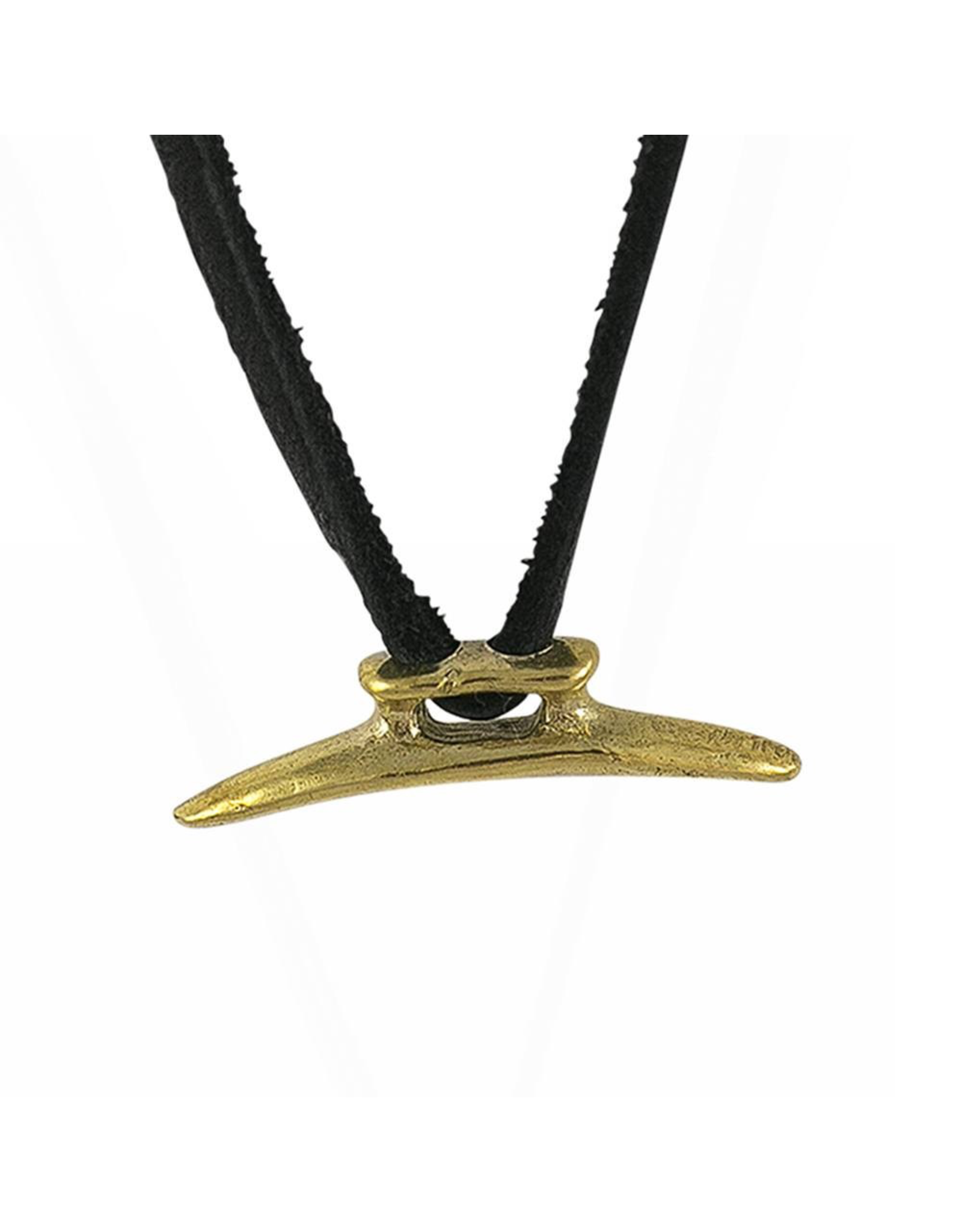 Waxing Poetic® Jewelry Boat Cleat Leather Necklace Mens 24 inch-Brass