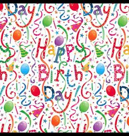 Caspari Birthday Gift Wrapping Paper Wrap Roll 2 Sheets Happy Birthday
