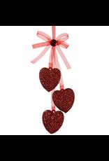 Kurt Adler Acrylic Red Glittered Triple Hearts Ornament w Bow  D1281R