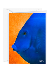 By The Seas-N Greetings Blank Note Card - Cash - Gift Card Holder - Blue Fish III