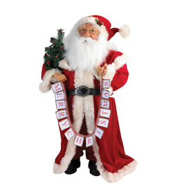 Kurt Adler Traditional Standing Santa w Merry Christmas Banner - FLOOR SAMPLE - Final Sale