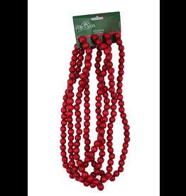 Kurt Adler Red Wooden Bead Garland 9FT