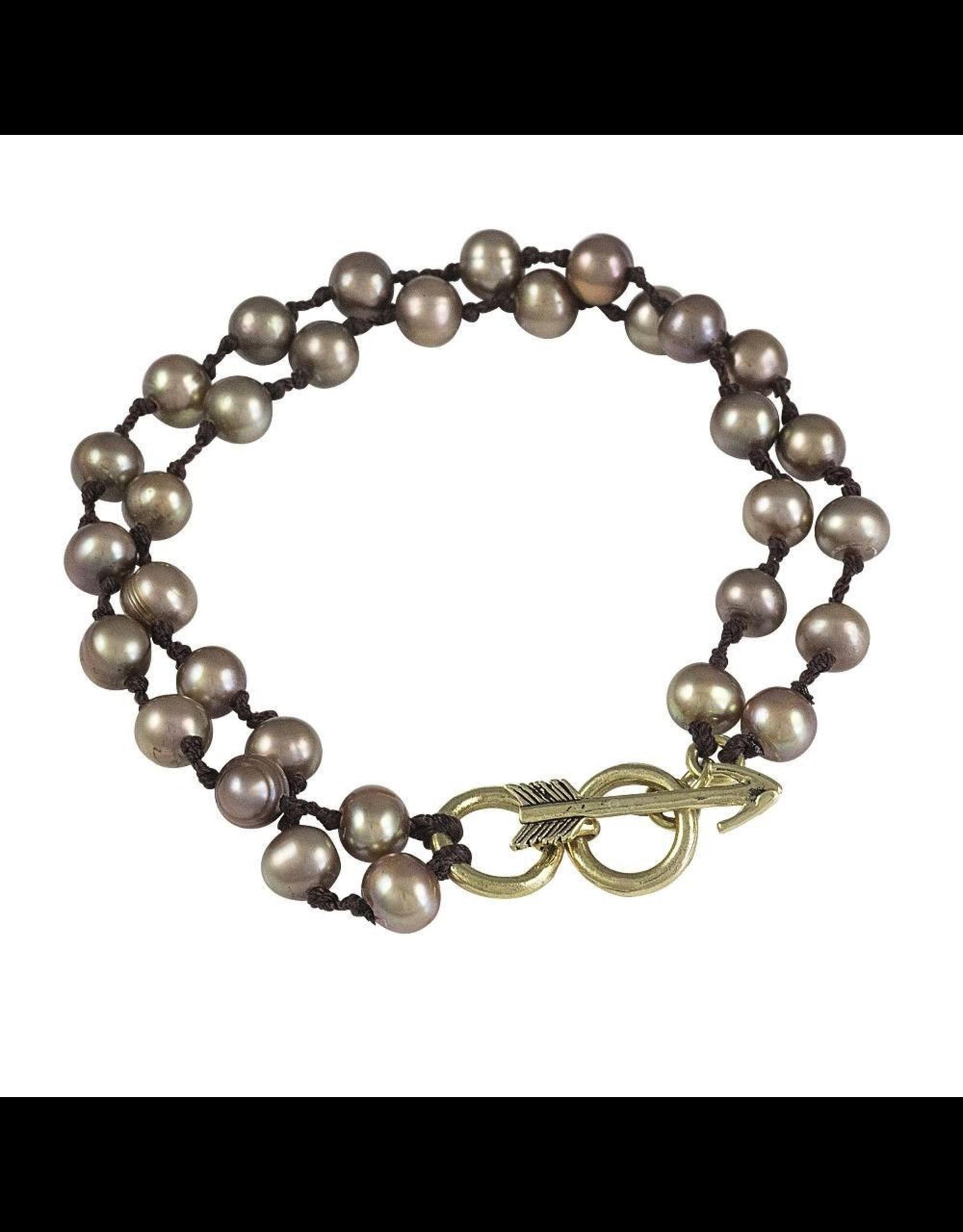 Waxing Poetic® Jewelry Boho Soul Bracelet Taupe Brass-Pearls