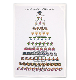 Peking Handicraft Wine Lovers 12 Days of Christmas Kitchen Tea Towel