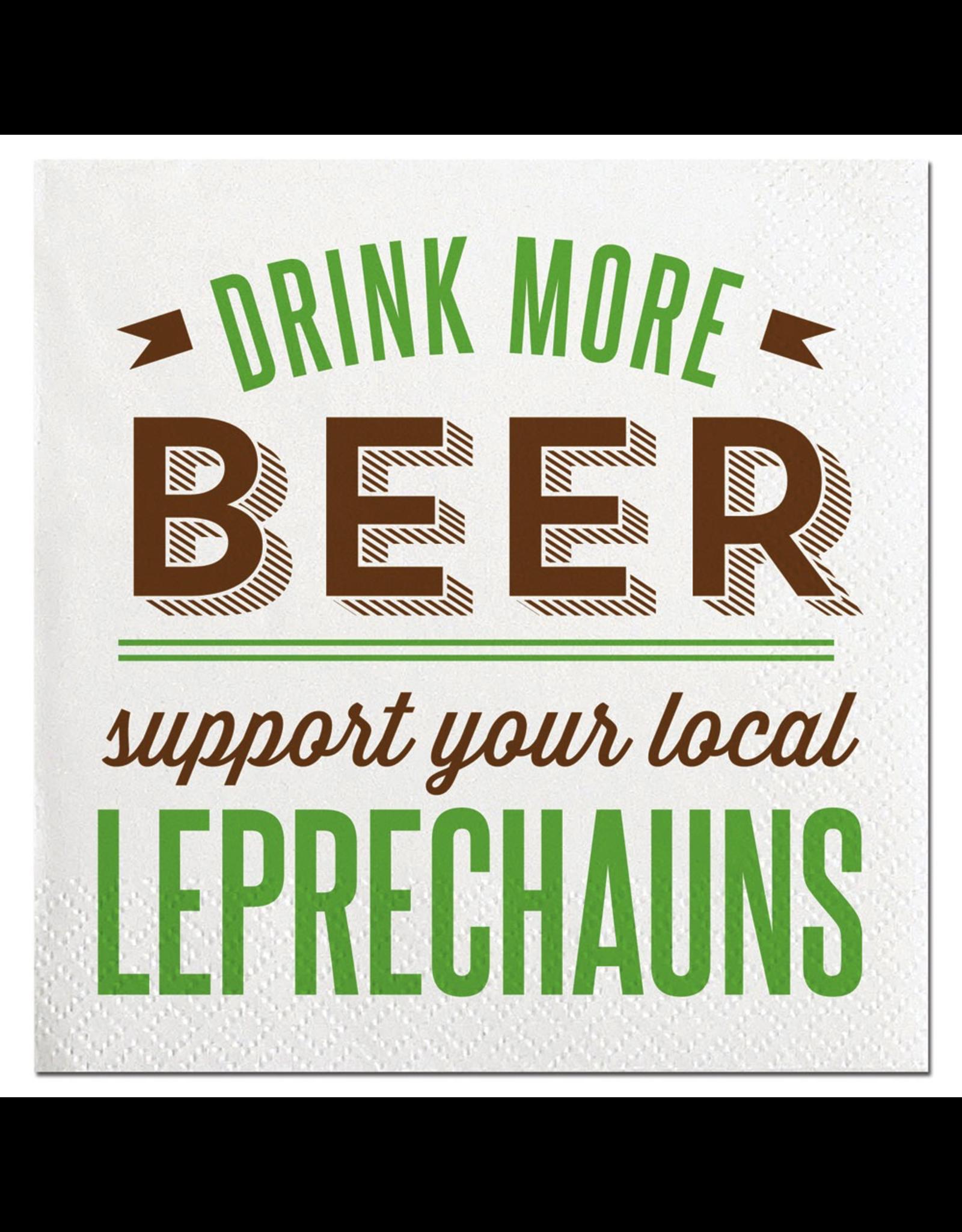 Slant St Patricks Day Cocktail Napkins 20ct Support Local Leprechauns