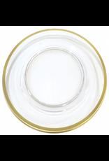 Caspari Acrylic Charger Dinner Plate Clear w Gold Rim