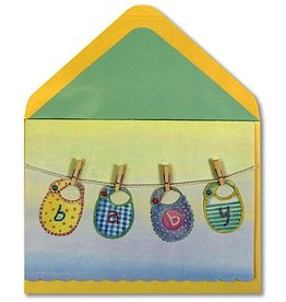 PAPYRUS® Baby Shower Card Baby Bib On Clothesline