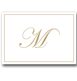 Caspari Gold Embossed Initial Note Cards Letter M Boxed Set of 8