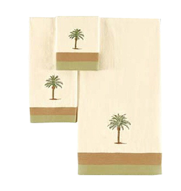 C & F Enterprises Cabana Palm Tree Bath Towels Set of 3 Bath Hand n Tip