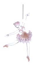 Kurt Adler Ballerina in Tutu w Pink Glitter Acrylic Ornament Head DOWN