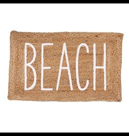 Mud Pie Jute Beach Mat 23x36 Braided Jute Doormat w Printed BEACH