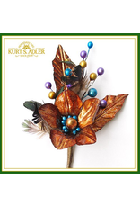 Kurt Adler Amber Flowers w Peacock Feathers Floral Pick 9 Inch
