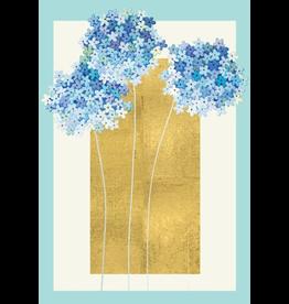 Caspari Wedding Card Blue Hydrangeas On Gold