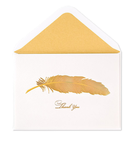 PAPYRUS® Thank You Card Gold Iridescent Feather Card