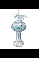 Kurt Adler Babys First Christmas Blue Glass Baby Rattle Ornament 3.5 Inch