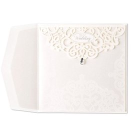 PAPYRUS® Wedding Card Laser-Cut Ivory Flourish