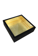 Caspari Black And Gold Lacquer Cocktail Napkin Holder