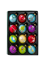 Kurt Adler 12 Days of Christmas Ornaments Glass Ball Set of 12