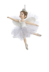 Kurt Adler Ballerina Angel Christmas Ornament White Silver Tutu -A