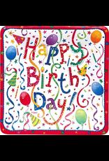 Caspari Birthday Paper Salad-Dessert Plates Square 8pk Happy Birthday