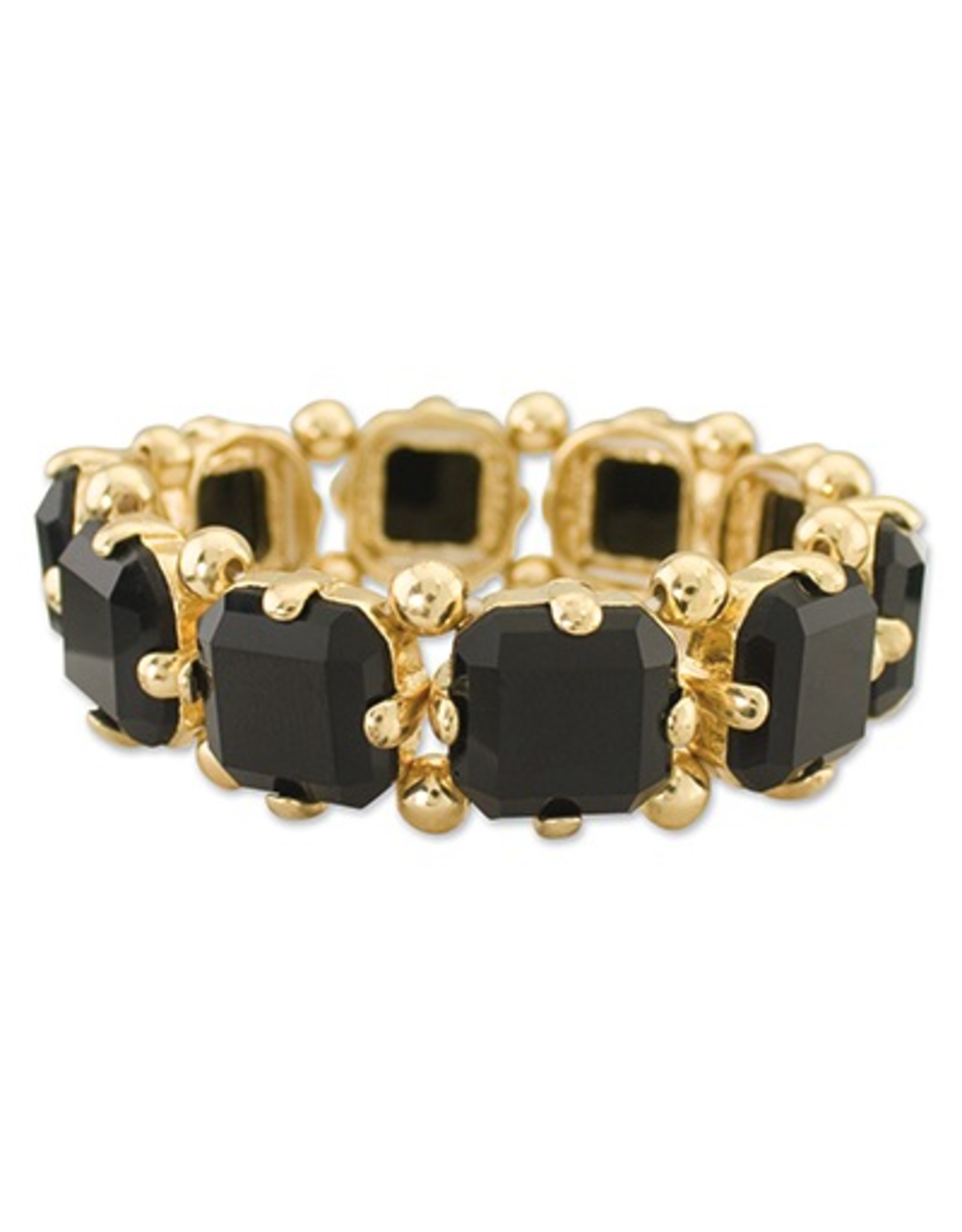 Periwinkle Bracelet Jet Faceted Squares set in Gold - Stretch