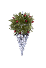 Kurt Adler Acrylic Icicle w Red Berry Holly Christmas Ornament