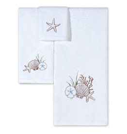 C & F Enterprises Shells Starfish Sand Dollar Bath Towels Set w Bath Hand n Tip
