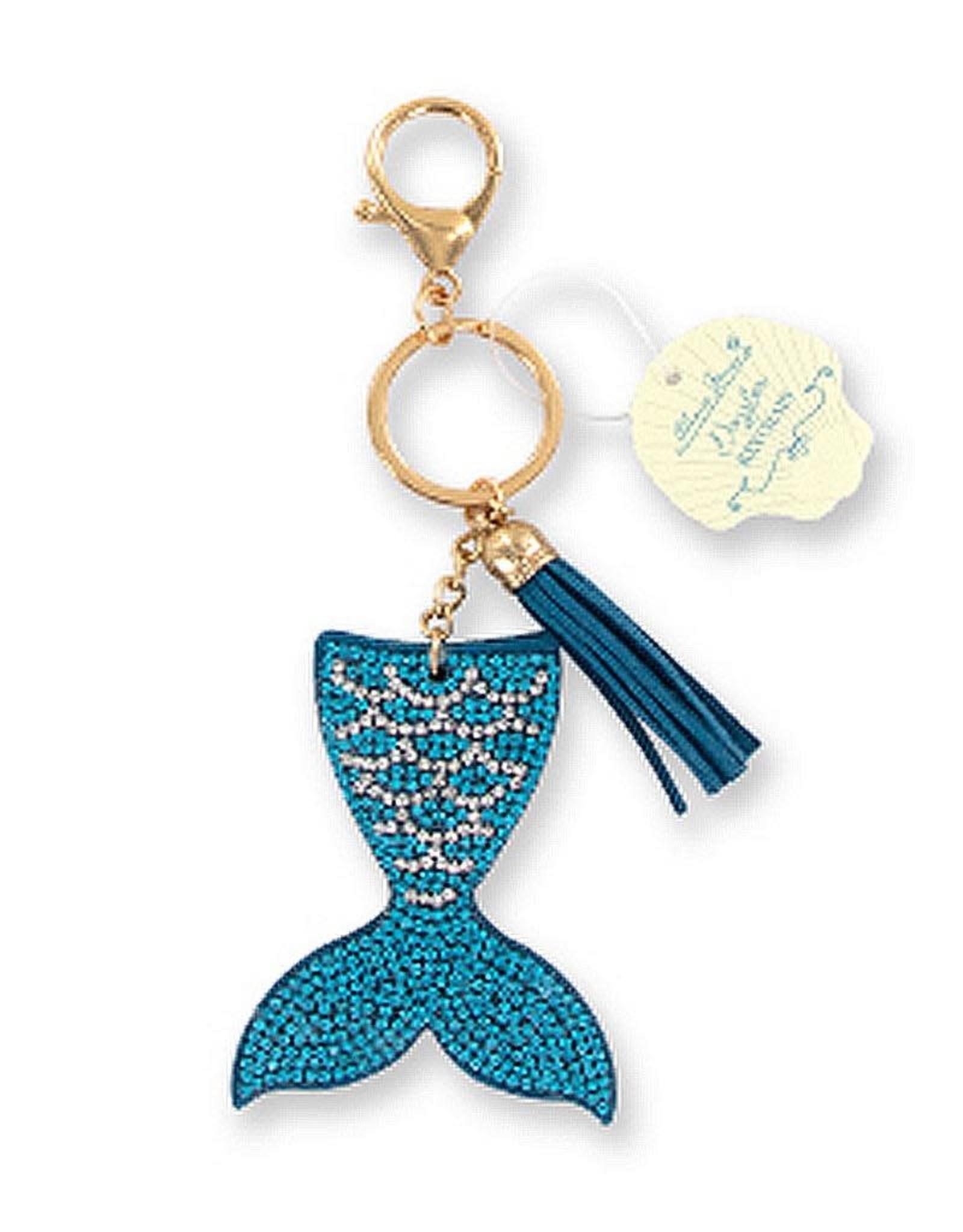 Blue Glitter With Glass Beaded Tassel Mermaid Keychain