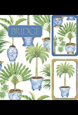 Caspari Bridge Gift Set w 2 Card Decks 2 Score Pads - Potted Palms