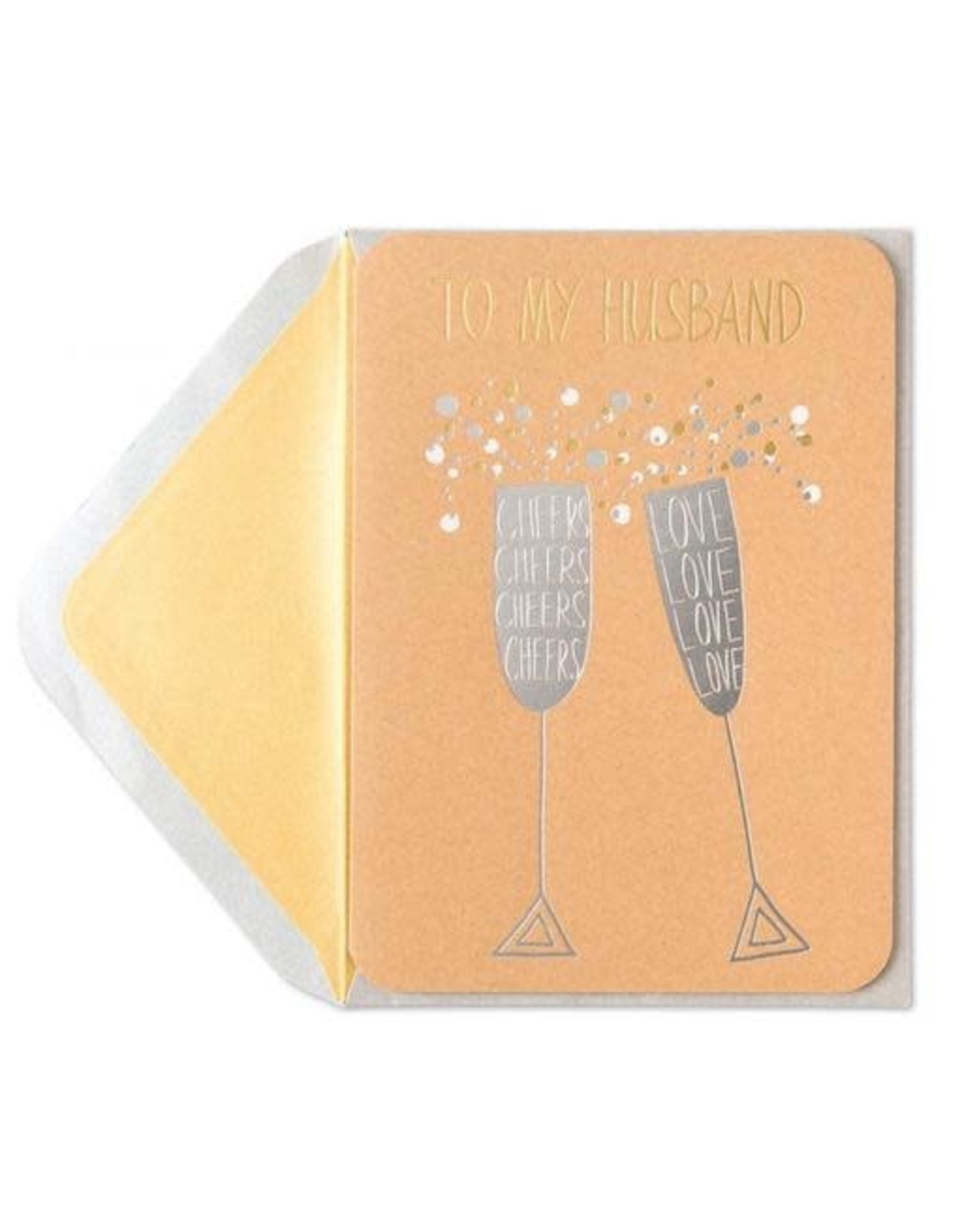 PAPYRUS® Birthday Cards For Husbands Silver Champagne Flutes