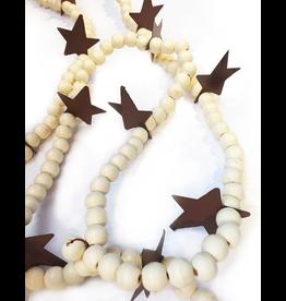 Darice Christmas Garland Ivory Wood Beads w Rustic Star 6 FT