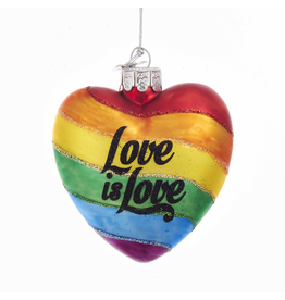 Kurt Adler Gay Pride Rainbow Glass Heart W Love is Love Ornament 4 inch