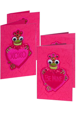 Katherine's Collection Valentines Cards 4PK Frog w Heart 2-XOXO 2-Be Mine