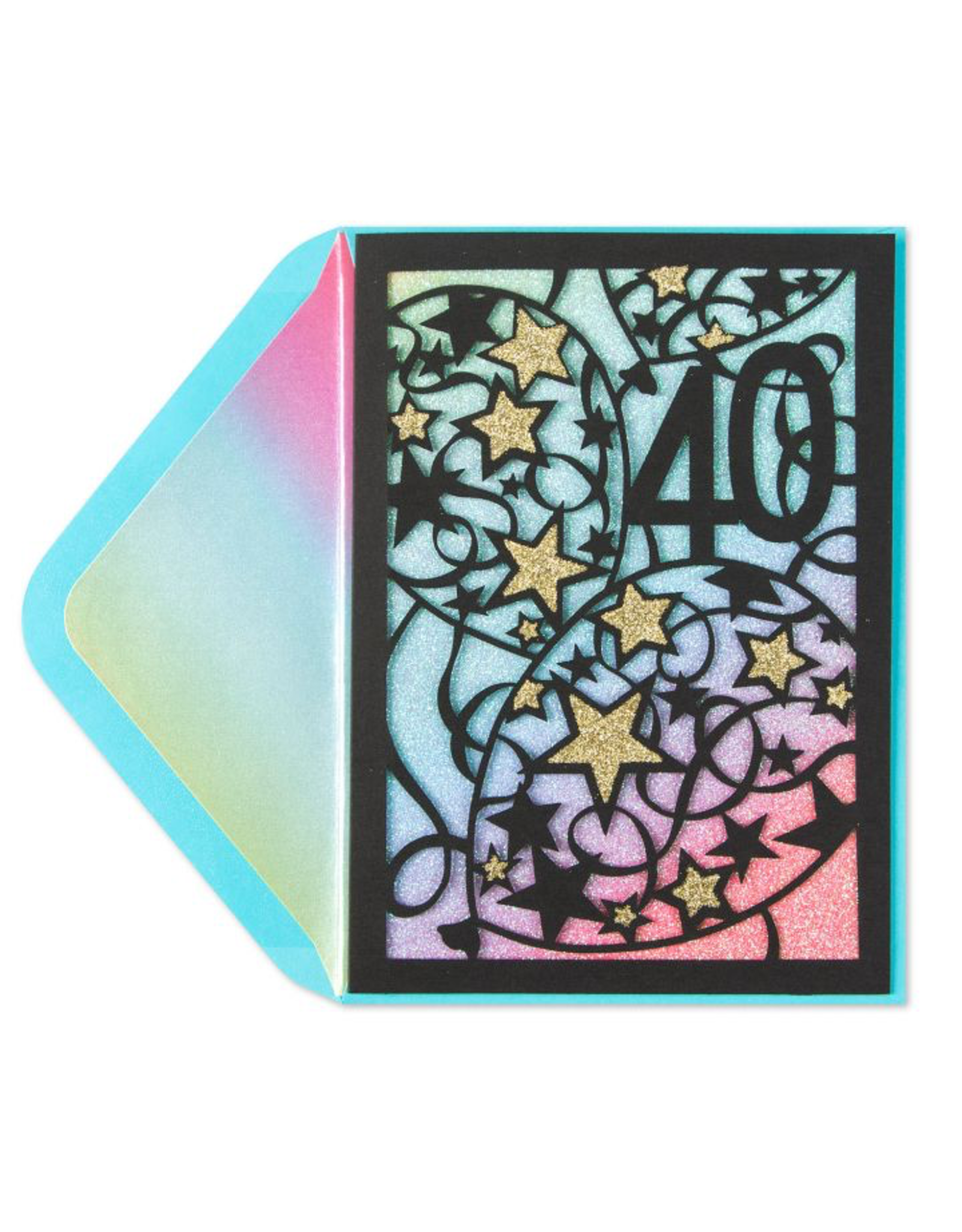 PAPYRUS® Birthday Card 40th With Stars Laser Cut