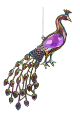 Kurt Adler Acrylic Peacock Bird Ornament 5 inch -A