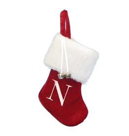Kurt Adler Mini Red Monogrammed Christmas Stocking Initial Letter N