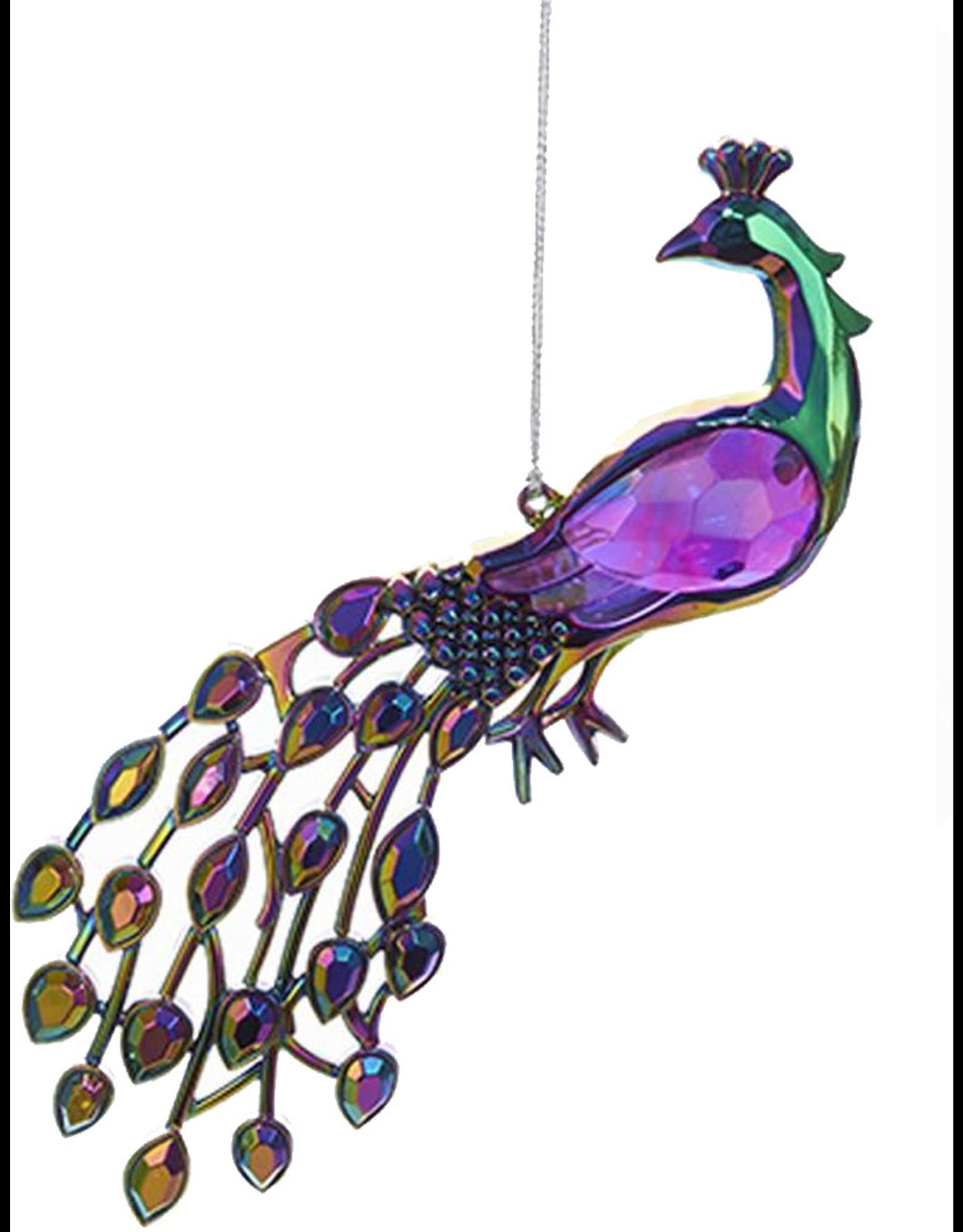 Kurt Adler Acrylic Peacock Bird Ornament 5 inch -B