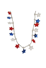 DM Merchandising USA Patriotic 10 Light Flashing Red White Blue Star Necklace
