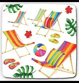 Caspari Paper Salad-Dessert Plates Biarritz Beach Chairs