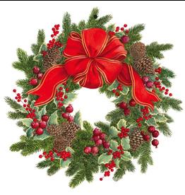 Caspari Ornament Gift Tags 4pk Christmas Evergreen Wreath